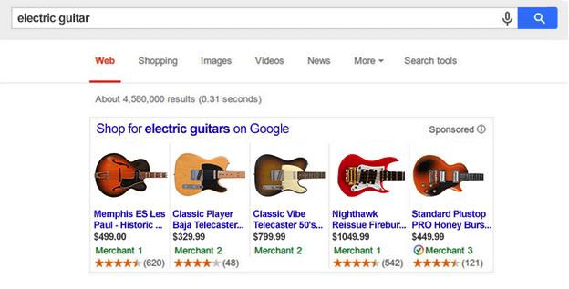 Ejemplo de anuncios de fichas de productor o product listing ads