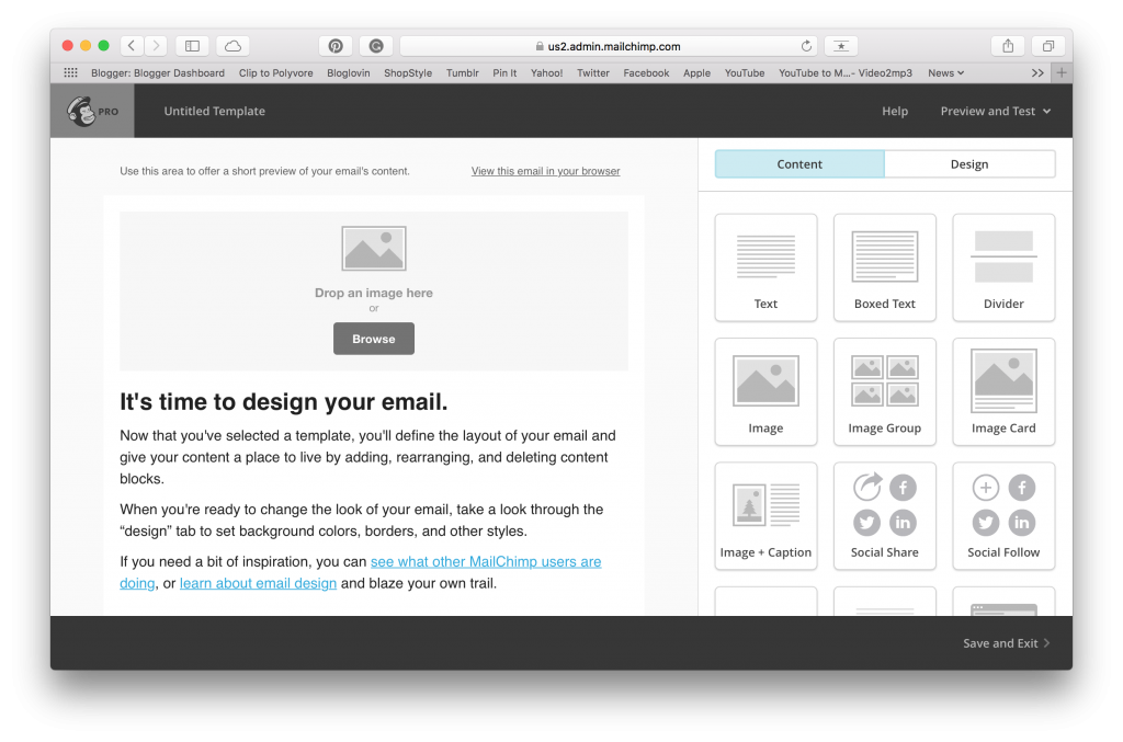 mailchimp drag and drop